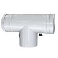 Trójnik rewizyjny 90° z odskraplaczem i króćcem pomiarowym dwuścienny MKPS Invest MK ŻARY  Ø 80/125mm biały