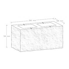 CJBLOK Pustak betonowy elewacyjny PBE-19-1/1 dwustronnie łupany element narożny, 2 image