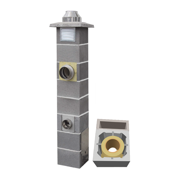 System Kominowy Ceramiczny  JAWAR Nord Ø 200mm z wentylacją rura izostatyczna