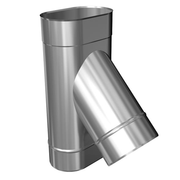 Trójnik 45° żaroodporny owalny MKSZ Invest MK ŻARY 110x230mm gr.0,8mm strona szersza