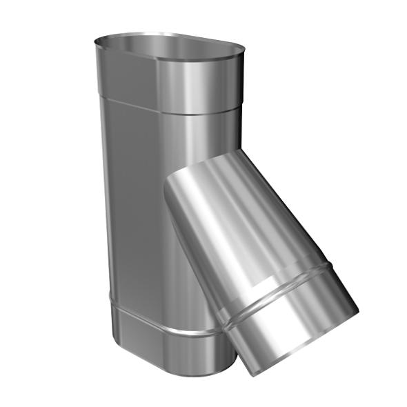 Trójnik 45° żaroodporny owalny MKSZ Invest MK ŻARY 110x240mm gr.0,8mm strona węższa
