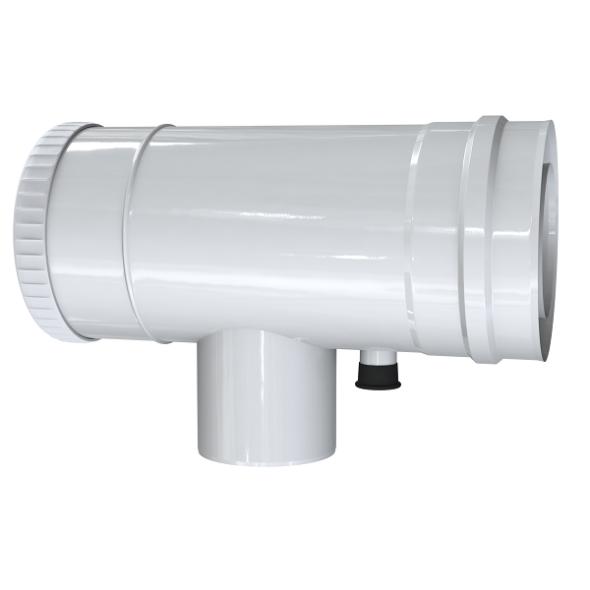 Trójnik rewizyjno-redukcyjny 90° z odskraplaczem dwuścienny MKPS Invest MK ŻARY  Ø 60/100 - 80/125mm biały