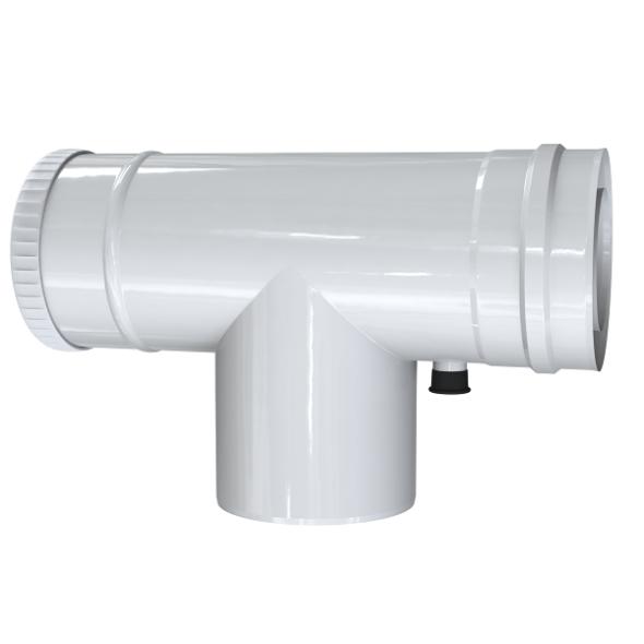 Trójnik rewizyjny 90° z odskraplaczem dwuścienny MKPS Invest MK ŻARY  Ø 60/100mm biały