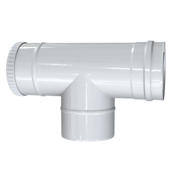 Trójnik rewizyjny 87° dwuścienny MKPS Invest MK ŻARY  Ø 80/125mm biały
