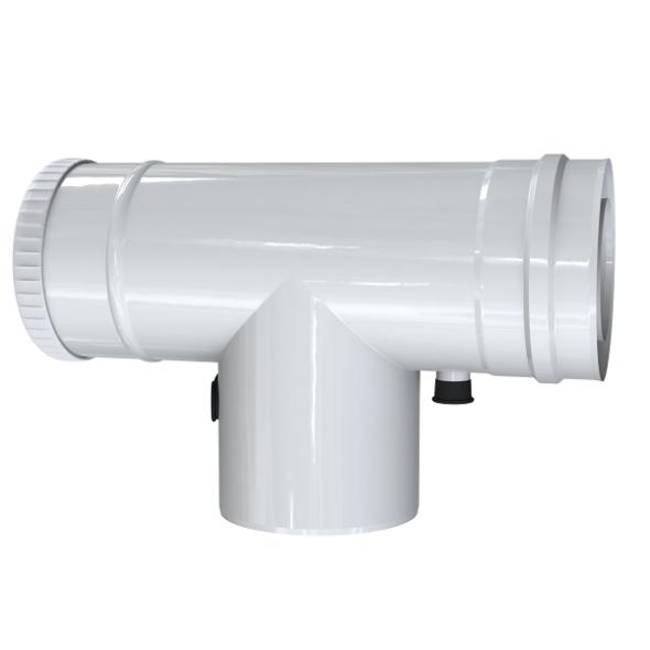 Trójnik rewizyjny 90° z odskraplaczem i króćcem pomiarowym dwuścienny MKPS Invest MK ŻARY  Ø 60/100mm biały
