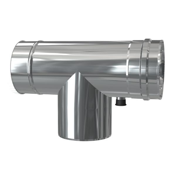 Trójnik rewizyjny 90° z odskraplaczem dwuścienny MKPS Invest MK ŻARY  Ø 60/100mm
